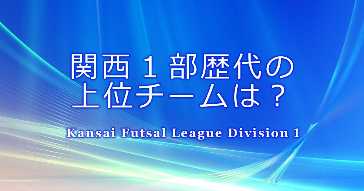 関西フットサルリーグ1部の歴代上位チームはどこ?